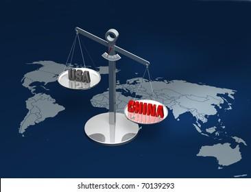 China versus USA rendering