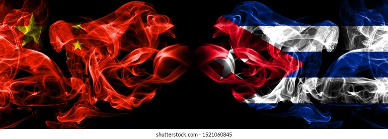 China vs Cuba, Cuban smoke flags placed side by side. Thick colored silky smoke flags of Chinese and Cuba, Cuban
