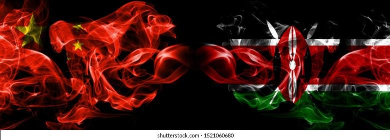 China vs Kenya, Kenyan smoke flags placed side by side. Thick colored silky smoke flags of Chinese and Kenya, Kenyan