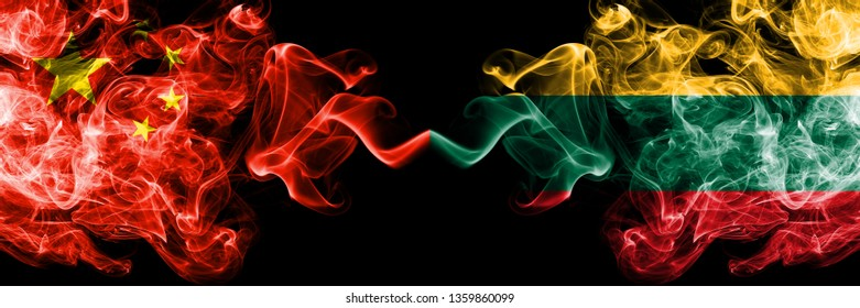 China vs Lithuania, Lithuanian smoke flags placed side by side. Thick colored silky smoke flags of Chinese and Lithuania, Lithuanian