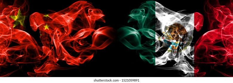 China vs Mexico, Mexican smoke flags placed side by side. Thick colored silky smoke flags of Chinese and Mexico, Mexican