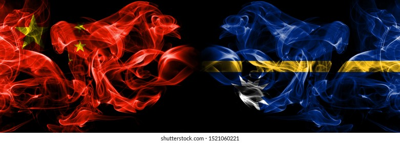 China vs Nauru smoke flags placed side by side. Thick colored silky smoke flags of Chinese and Nauru