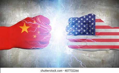 China vs USA Flag Fist Punch 3D Render
