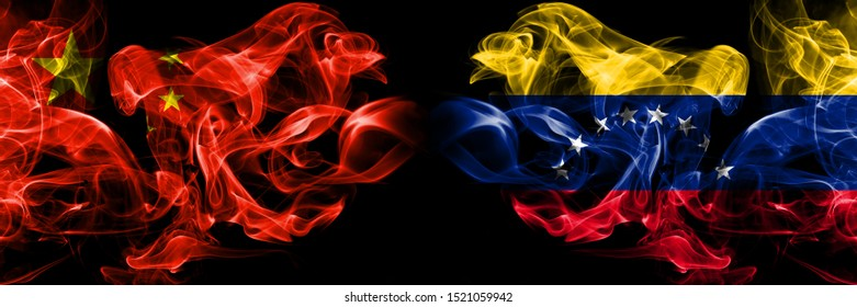 China vs Venezuela, Venezuelan smoke flags placed side by side. Thick colored silky smoke flags of Chinese and Venezuela, Venezuelan