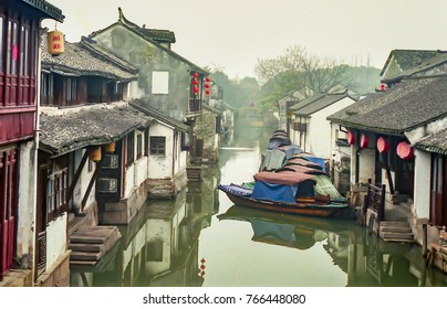 China water village landscape zhouzhuang, film photo (Chinese translation:zhouzhuang)