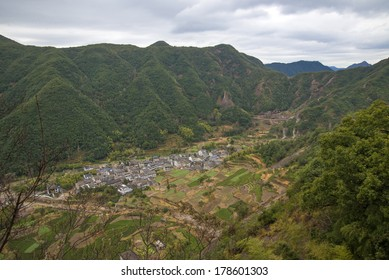 "In China, Wenzhou, ""Yandang Mountain"", at the foot of the mountain villages and islands. (Yandang Mountain is China's famous geological park, formed in 120 million years ago)"