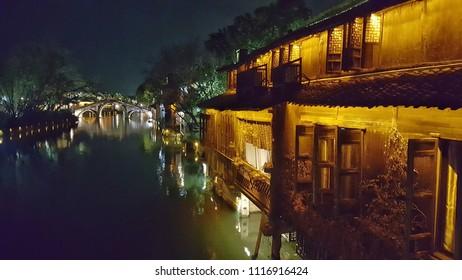 china wuzhen night water town