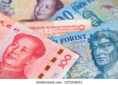 China Yuan Renminbi and Hungary Forint money. HUF to RMB