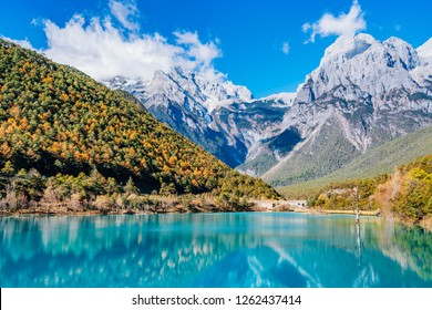 China Yunnan Lijiang Yulong Snow Mountain Blue Moon Valley Scenery