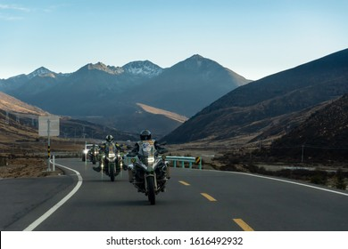 China Yunnan, November 2019 21 BMW GSA 1200 The group tour traveling from Thailand to Shangri-La and Yading in Yunnan, China They enjoying with the ride motorcycle adventure