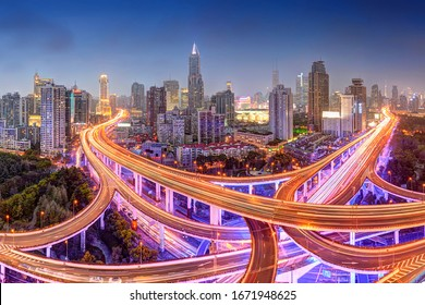 China, Zhonghua, Shanghai, May 21st 2018, high view at night of Yanan road junction also called Dragon End is the major road junction in Shanghai, Renmin Square, People's Square in the background