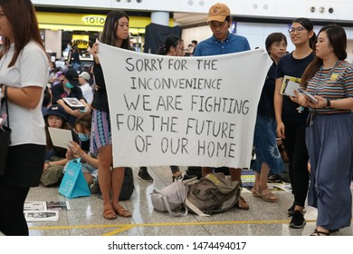 China,Hong Kong international airport on the protesting day,9 August 2019, Anti-extradition bill rally,so many protesters sit- it at the airport