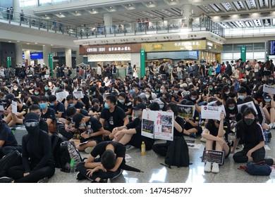 China,Hong Kong, Protest against extradition bill on August 8, 2019. Hong Kong International Airport.