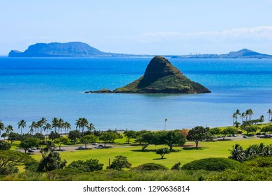Chinamans Hat island in Kaneohe Bay, Oahu, Hawaii