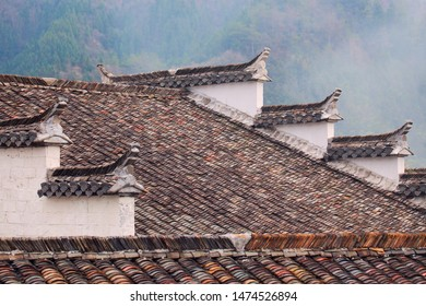 China's Ancient Villages in Southern Anhui - Xidi is listed as a World Cultural Heritage by UNESCO.Rural houses white walls black eaves unique architectural architecture forms an abstract view.