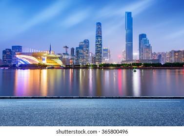 China's Financial District, Guangzhou Pearl River Night