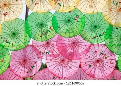 China's oil paper umbrella architectural landscape in the park