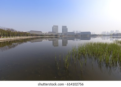 China's Wuxi morning, waterfront modern architecture