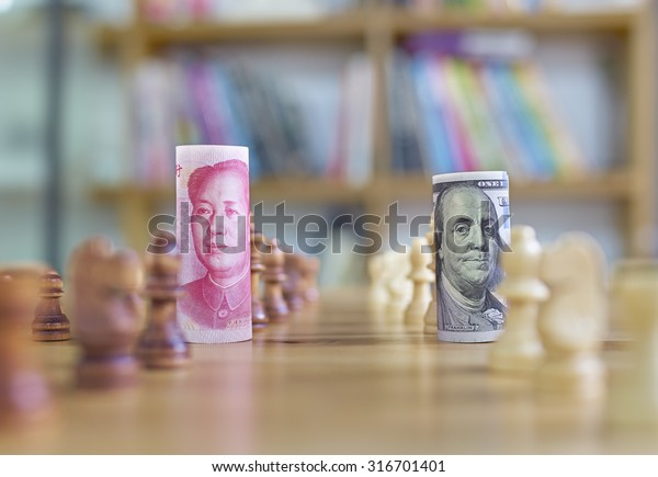 China's yuan vs US dollar in chess concept