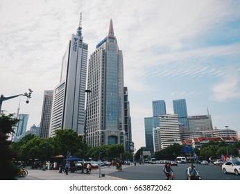 CHINA,SHANGHAI,10june2017-shopping building modern tower at shanghai china