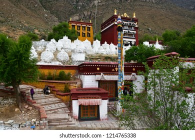 China,Tibet, Lhasa. The ancient monastery Pabongka in June, 7th century buildings