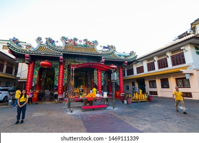 CHINATOWN, BANGKOK - 28 JULY 2019 :  Thianfah Temple on Yaowarat road, the main street of China town.