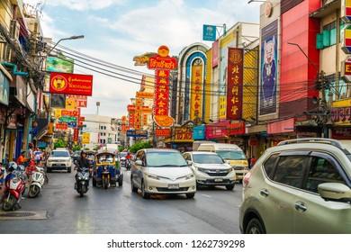 CHINATOWN, BANGKOK - 7 December: Tourist people and traffic at Yaowarat road, the main street of Chinatown in Bangkok on December 7, 2018. Chinatown is one of the famous landmark in Bangkok.
