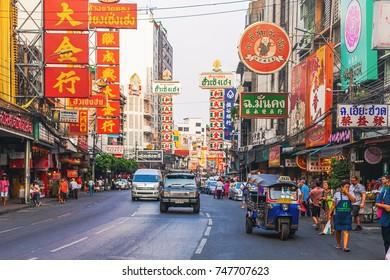 CHINATOWN, BANGKOK - 9 AUG: Morning traffic at Yaowarat road, the main street of Chinatown in Bangkok on August 9, 2017. Chinatown is one of the famous landmark in Bangkok.