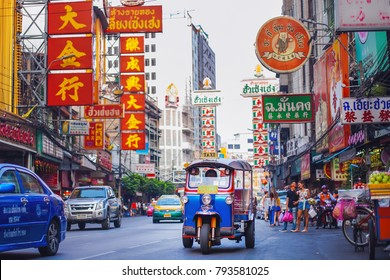 CHINATOWN, BANGKOK - 9 AUG: Morning traffic at Yaowarat road, the main street of Chinatown in Bangkok on August 9, 2017. Chinatown is one of the famous landmark in Bangkok.