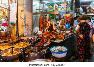 CHINATOWN, BANGKOK - MAY 26: People walk around Old Market in Yaowarat on May 26, 2018. Chinatown in Bangkok is one of the most famous landmark in Bangkok.