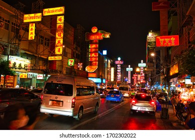 Chinatown, Bangkok, Thailand - January, 2020: Evening at the Yaowarat street in Chinatown, Bangkok, Thailand.China at night is a tourist attraction and an important place for traveler