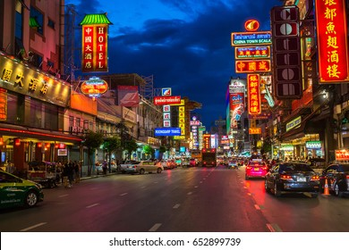CHINATOWN, BANGKOK, THAILAND - JUNE 03, 2017 : Night at Yaowarat road, the main street of China town Bangkok, Thailand on June 03, 2017.