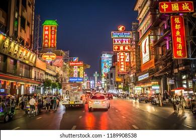 CHINATOWN, BANGKOK, THAILAND - MARCH 27, 2018 : Night at Yaowarat road, the main street of China town Bangkok, Thailand on March 27, 2018.