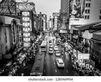 CHINATOWN, BANGKOK, THAILAND - MARCH 27, 2018 : Yaowarat road, the main street of China Town in Bangkok, Thailand on March 27, 2018.