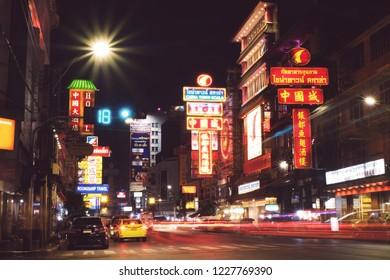 CHINATOWN, BANGKOK, THAILAND - NOV, 2018 : The main street of China town Bangkok Thailand, Cars and Street food on Yaowarat road.