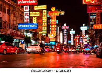 CHINATOWN, BANGKOK, THAILAND-september 10, 2018 : Night at Yaowarat road, China town Bangkok, Thailand on September 10, 2018