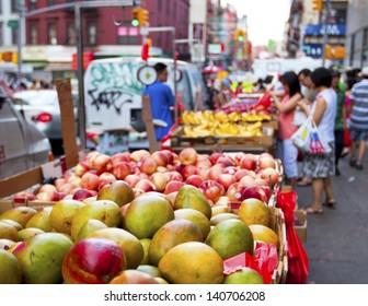 Chinatown fruit market in New York City
