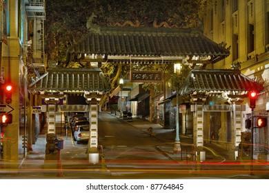 Chinatown Gate in San Francisco California at Night