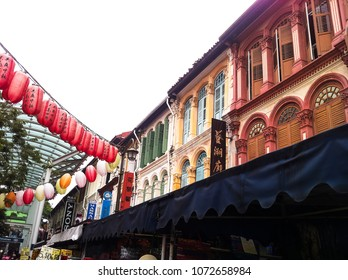 Chinatown, Singapore - December 14, 2013: colorful heritage buildings in Chinatown in Singapore