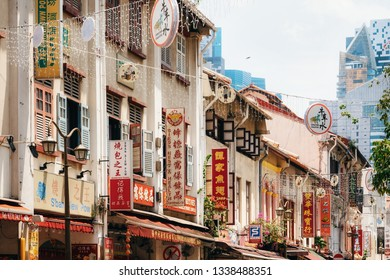 Chinatown, Singapore - February 8, 2019: Signs with Chinese Hieroglyphs in Chinatown