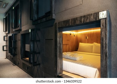 Chinatown, Singapore - February 8, 2019: Interior view of capsule hotel in downtown