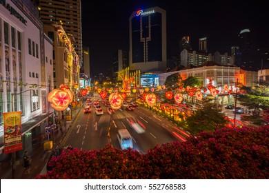 Chinatown, Singapore - January 08, 2017 : Decorations on street of Chinatown Singapore during Chinese new year 207