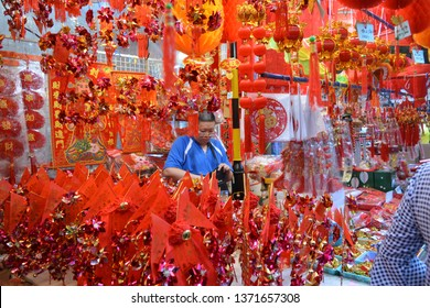 Chinatown, Singapore - January 27, 2019: The atmosphere, conditions and activities in the traditional Chinatown market are so crowded
