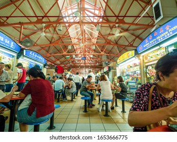 CHINATOWN, SINGAPORE, NOVEMBER 10, 2016: Maxwell Food Centre is one of the best places for many visitors and traveller who want to try genuine Singaporean dishes that are cheap and very tasty.