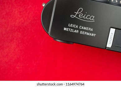Chinatown,Bangkok/Thailand - August 27 2018 : Closeup vintage Leica logo of Leica Camera AG that creation since 1913  from Germany on top plate of Leica M-D digital rangefinder camera from 2014.