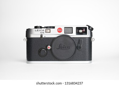 Chinatown,Bangkok/Thailand - February 19 2019 : Rare only made 125 copies film 35mm camera by Leica Germany since 1990 in name Leica M6 Siber Hegner 125th Anniversary that still needed by collectors.