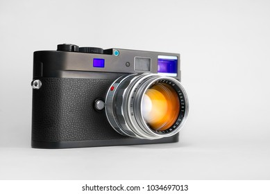 Chinatown,Bangkok/Thailand - February 27 2018 : Photo of retro rangefinder lens for film camera since 1959 to 1961 from germany in name Leica Summilux 50mm f1.4 with Leica M monochrom digital camera.