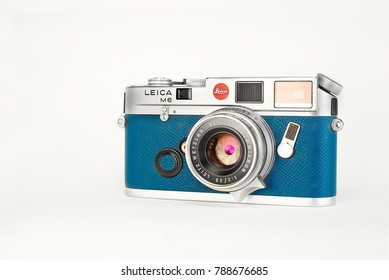 Chinatown,Bangkok/Thailand - January 08 2018 : Photo of popular mechanical rangefinder film 35mm camera from 1984 to 1998 by Leica germany in name Leica M6 with blue leather replacement.
