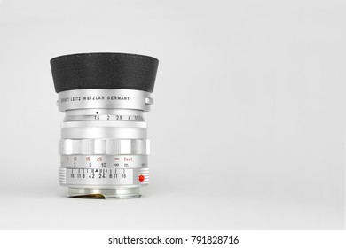 Chinatown,Bangkok/Thailand - January 12 2018 : Photo of classic rangefinder lens for 35mm film camera since 1959 to 1961 by leica germany in name Leica Summilux 50mm f1.4 version 1 with copy space.