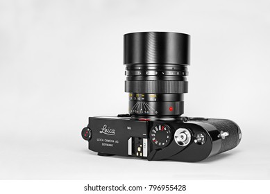 Chinatown,Bangkok/Thailand - January 16 2018 : Photo of popular rangefinder film 35mm camera for street photography from 1984 to 1998 by Leica germany in name Leica M6 with Leica 75mm telephoto lens.